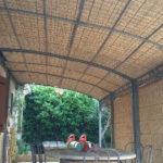Couverture de terrasse en roseaux de camargue paillasson camarguais